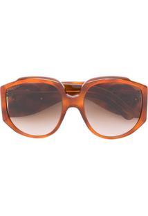 Gucci Eyewear Óculos De Sol Oversized - Marrom