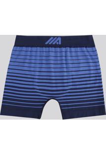 Cueca Boxer Masculina Ace Listrada Sem Costura Azul Royal