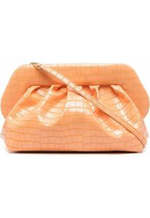 Themoirè Croc-Effect Clutch Bag - Laranja