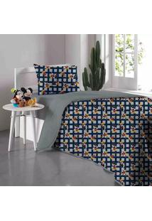 Edredom Solteiro Portallar Disney Doce Vida Mickey Mescla Em Malha Azul