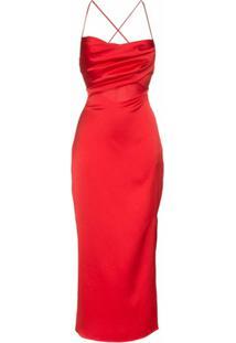 Rasario Vestido Midi Com Alças Cruzadas - Vermelho