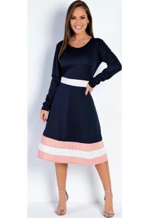 Vestido Com Recortes Tricolor Moda Evangélica