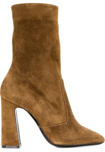 Saint Laurent Ankle Boot Com Salto - Marrom