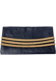 Bolsa Clutch Julianna Fraccaro Stripe Preto