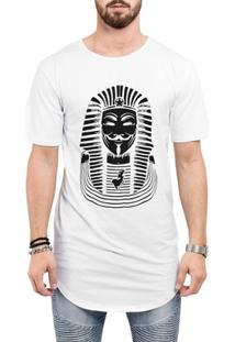 Camiseta Criativa Urbana Long Line Oversized Anonymus Faraó - Masculino-Branco