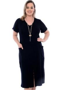 Vestido Fenda Na Frente Preto Plus Size