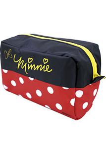 Necessaire Preto E Vermelho Minnie - Disney