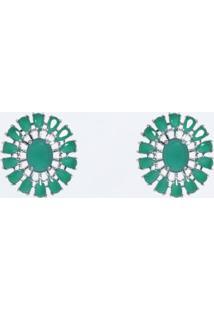 Brinco Rosa Pinhal Cristal Oval Verde Esmeralda.