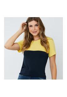 Blusa Feminina Bicolor Elen Amarela E Azul
