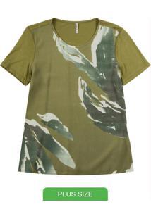 Blusa Com Decote Redondo E Estampa Verde