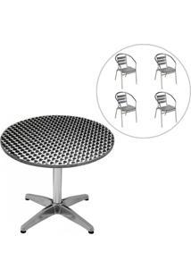Conjunto Mesa Redonda Com 4 Cadeiras Para Jardim Mor - Unissex