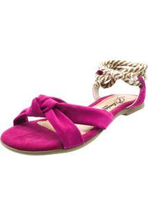 Sandã¡Lia Rasteira Romã¢Ntica Calã§Ados Pink - Pink - Feminino - Dafiti