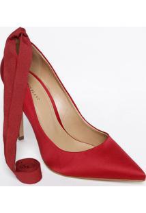 Scarpin Melissa Com Amarração - Vermelha - Salto: 11Le Lis Blanc