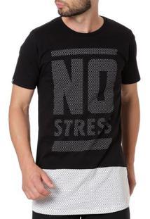 Camiseta Manga Curta Alongada Masculina No Stress Preto