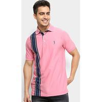 e6e76e82fd183 Camisa Polo Aleatory Listrada Fio Tinto Masculina - Masculino-Rosa