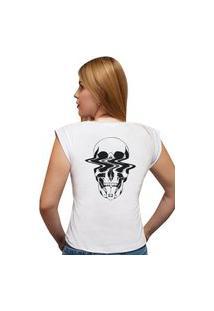 """Camiseta Casual 100% Algodão Estampa """"Caveira Bala"""""""" Avalon Cf01 Branca"""""""