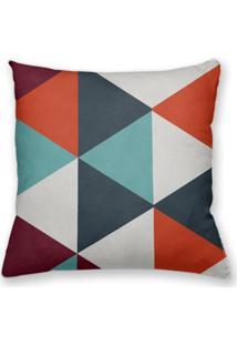 Capa De Almofada Decorativa Own Geométrica Triângulos Laranja E Azul 45X45 - Somente Capa