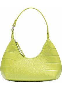 By Far Bolsa Tiracolo Amber Com Efeito Pele De Crocodilo - Verde