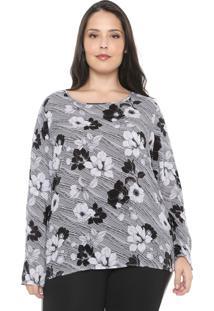 Blusa Cativa Plus Floral Branca/Preta