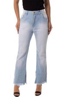 Calça Jeans Eventual Reta Cropped 2015022823 Azul - Azul - 48 - Feminino