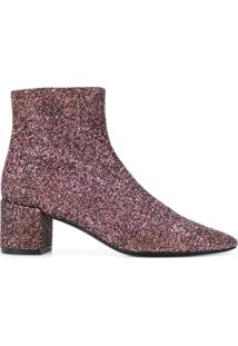 Saint Laurent Ankle Boot 'Loulou 50' Com Paetês - Rosa