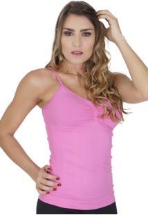 Camiseta Click Chique Modeladora Sem Costura Em Microfibra Rosa