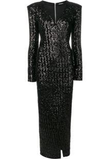 Balmain Vestido Envelope Longo Com Paetês - Preto