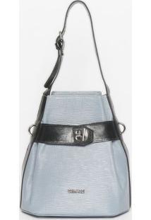 Bolsa Com Tag & Encaixe - Azul Claro & Preta - 27X28Griffazzi