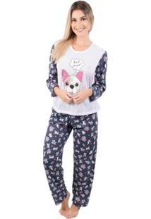 Pijama Longo Feminino Estampado Marcelle - Feminino-Branco