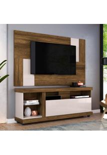 Rack Ilhabela Com Painel Extensível Para Tv Delfos Até 55 Polegadas Canela E Off White