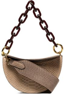 Yuzefi Snake-Effect Chain And Leather Shoulder Bag - Cinza