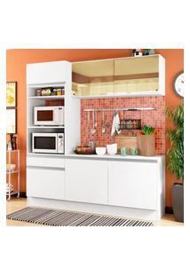 Cozinha Compacta Madesa Diamante Com Armário, Balcáo E Tampo Branco