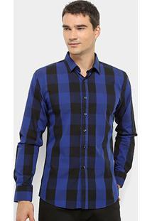 Camisa Xadrez Watkins&Krown Masculina - Masculino-Azul Escuro