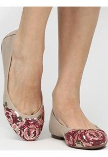 Sapatilha Shoestock Bordado Flor Color - Feminino