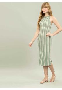 Vestido Com Alças Mídi Tricô Verde Spa - Lez A Lez