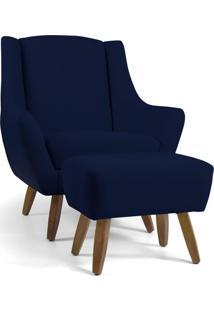 Poltrona Decorativa Com Puff Sala De Estar Pés De Madeira Naomi Veludo Azul Marinho - Gran Belo