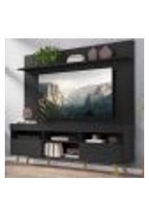 """Rack Com Painel Tv 65"""" Madri Multimóveis Pés Retrô E Prateleira Preto/Natural"""