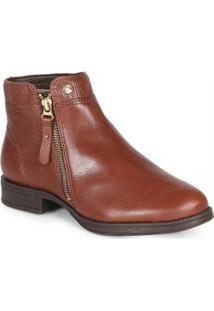Ankle Boots Feminina Zíper Marrom Marrom