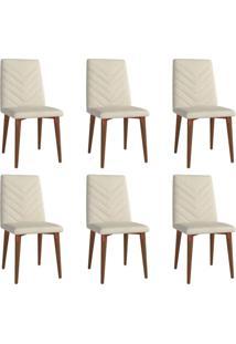 Conjunto Com 6 Cadeiras De Jantar Liv Bege