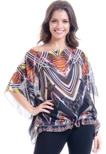 Blusa 101 Resort Wear Ombro A Ombro Poncho Estampada Tigre