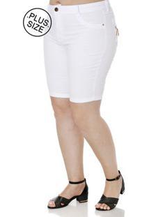 Bermuda Sarja Plus Size Feminina Branco