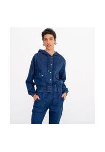 Jaqueta Moletom Jeans Lisa Com Capuz E Bolsos | Marfinno | Azul | Pp