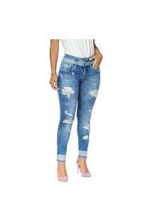 Calça Jeans Cigarrete Denuncia Mid Rise Skinny 206324165 Azul