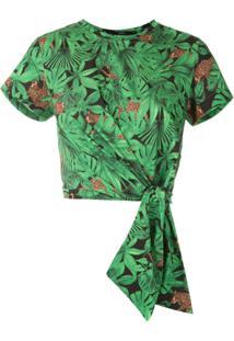 Eva Blusa Cropped Floresta Estampada - Verde