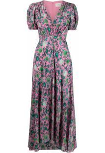 Saloni Vestido Midi Com Estampa Floral - Rosa