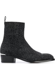 Alexander Mcqueen Glittered Ankle Boots - Preto
