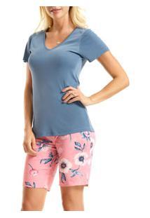 Pijama Curto Floral Liganete Paulienne (C.072.61.B) Bermudoll