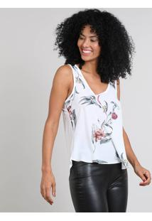 Regata Feminina Mullet Com Estampa Floral Off White