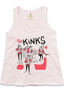 Camiseta Regata Rock Cool Tees Caco Galhardo Banda The Kinks Feminina - Feminino-Rosa