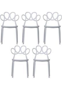 Kit 05 Cadeiras Decorativas Para Cozinha Laço Branco - Gran Belo - Tricae